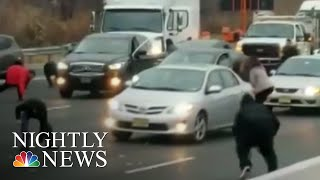 Hundreds Of Thousands Of Dollars Spill Out Of Truck Onto New Jersey Highway | NBC Nightly News
