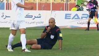لقطة طريفة في الدوري العراقي: سقوط الحكم الدولي علي صباح في مباراة الزوراء ونفط الجنوب