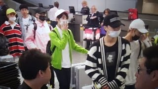 K POP NCT 127 and fans at Los Angeles International Airport