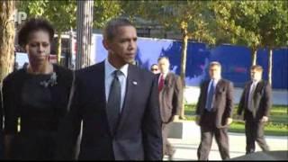 Raw Video: Obama, Bush Arrive at Ground Zero