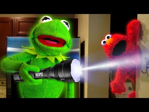 Kermit the Frog and Elmo play Hide and Seek