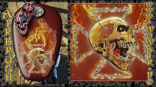 """Airbrush by Wow No.900 """" Skull with Iron Cross barbed wired """" english commentary"""