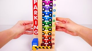 Stacking Parking Cars Playset!! Learn Colors and Counting to 10 with Cars