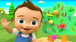 Colors for Children to Learn with Little Baby Fun Play ColorBalls Wooden Tree Slider Toy Set 3D Kids