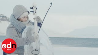 Musicians play instruments in world's most northerly ice music concert