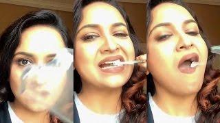Malayalam Actress Lena Eating Broken Glass