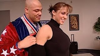 WWE Raw +18 Kurt Angle and Stephanie Mcmahon before the match with Brock Lesnar