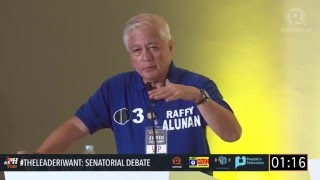 #TheLeaderIWant Senatorial Debate: Alunan on tension between Crame and LGU