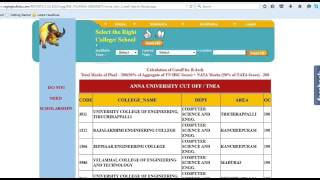 Anna University cut off search, college select  Computer Science