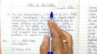 Letter to the Editor - class 10, 11 & 12 CBSE - Part 2 ( Format and sample )
