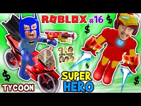 ROBLOX SUPER RICH HEROES $$$$ Iron Man Duddy vs Batman Chase SUPERHERO TYCOON (FGTEEV #16 Gameplay)