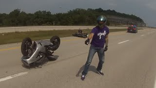 Crazy Cop Trying To Run Bikers OFF The Road Causes Riders to Wreck into each other!