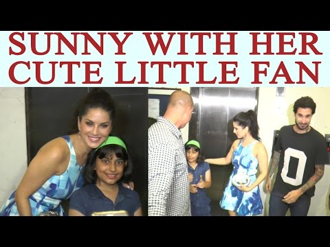Sunny Leone poses with her CUTE little fan; Watch Video | FilmiBeat