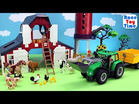 New Playmobil Red Barn with Silo Playset Build and Play plus Farm Animals Toys For Kids