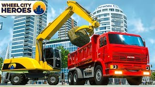 Dump Truck Constructing Street for Fire Truck. Wheel City Heroes (WCH) Vehicles Cartoon for Kids
