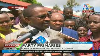 Governor Mwangi Wa Iria on Jubilee Nominations in Murang'a County; calls opponent a cry baby