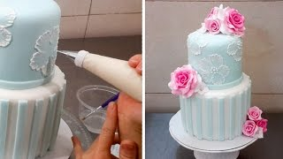 Brush Embroidery Cake with Royal Icing by Cakes StepbyStep *Decorar con Glasa Real