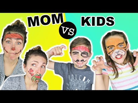 Mom VS Kids FACE PAINT CHALLENGE Animal & People Edition | Face Paint For Kids