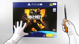 "PS4 Pro ""Black Ops 4 Edition"" Console Unboxing - Playstation 4 Slim Call of Duty 1Tb Bundle"
