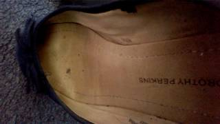 Well Worn /Trashed Navy Faux Suede Dolly Shoes Flats FOR SALE