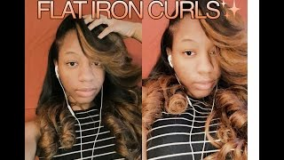 FLAT IRON CURLS ON WEAVE + Heavy BANG 💥 | CKISSES