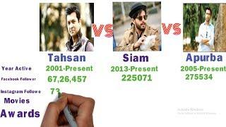 Tahsan vs Siam vs Apurba Biography Comparison (Height,Weight,Awards ,Movie,Facebook Comparison