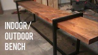 DIY Modern Indoor/Outdoor Bench // Wood and Steel
