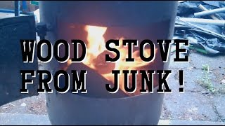 DIY Wood Stove from Scrap Air Compressor Tank!