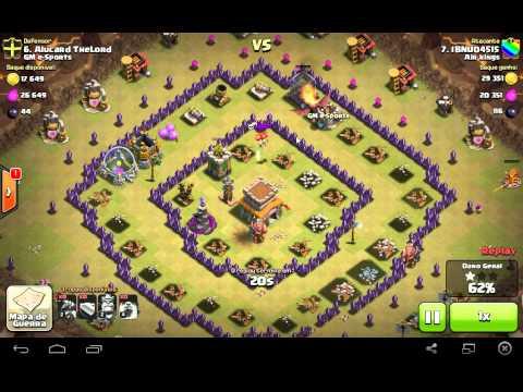 clash of clans estratégia de defesa em guerra contra dragões cv 7