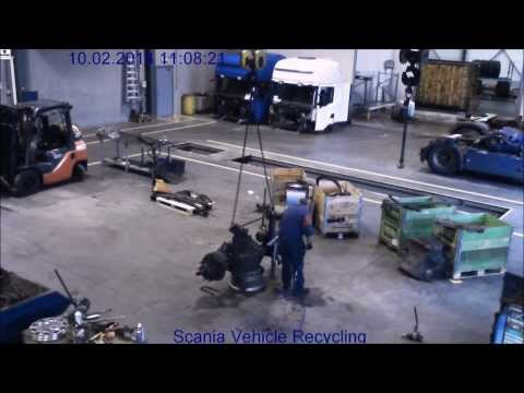 Scania Vehicle Recycling Chassis dismantling in 10 minutes