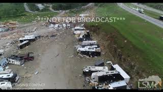 5 23 19 Jefferson City, MO Catastrophic Tornado Damage Aerials At First Light Along Highway 54
