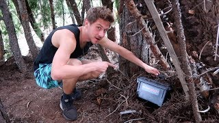 HIDING A MYSTERY BOX IN THE WOODS!
