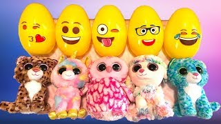 Learn Numbers & Counting with Surprise Emoji Eggs & Beanie Boos Animals | Nursery Rhymes Songs