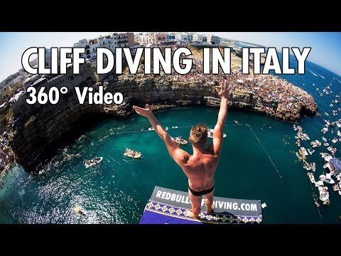 Cliff Diving From a Rocky Ledge in Italy   360° Video (4K)