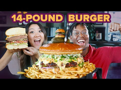 I Surprised My Friend With A Giant 14 Pound Burger • Giant Food Time