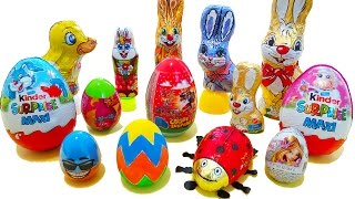 Easter surprise eggs and bunnies - Kinder chocolate toys Easter christmas santa surprises for kids