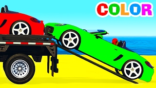 COLOR CARS Transportation in Cartoon for Kids & Colors for Children Nursery Rhymes