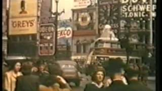 Piccadilly Circus London in 1944 fantastic clear colour film over 70 years old,