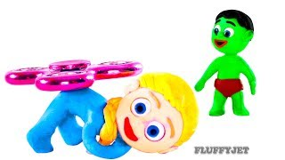 Superhero Babies Play Fidget Spinner Baby Hulk Frozen Elsa Play Doh Stop Motion Animations