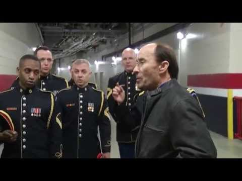 watch Army Chorus and Lee Greenwood sing a capella God Bless the USA impromptu at the Winter Classic