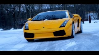 Raging Bull in the Snow   Lamborghini Gallardo