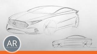 Autos zeichnen lernen. Schnellskizze. Seitenansicht. Mappenberatung Transportation Design