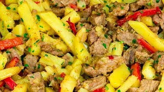 Une recette simple qui vous sauve de toute situation - viande aux légumes à la poêle ! |Savoureux.TV