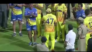 DJ Bravo with Dhoni funny dance on field IPL.:D