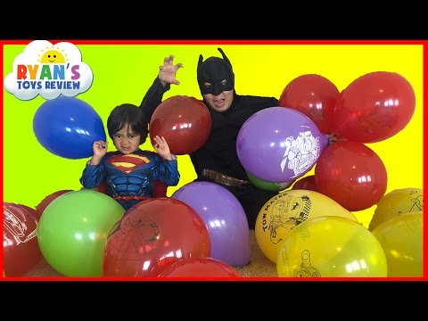 SURPRISE TOYS GIANT BALLOON POP CHALLENGE Batman vs Superman Disney Cars Toys Thomas and Friends