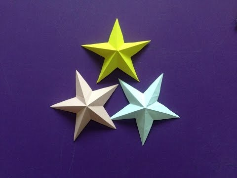 How to make a 3D paper star   Easy origami stars for beginners making   DIY-Paper Crafts
