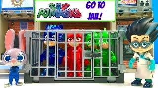 PJ Masks Catboy Owlette Gekko Go to Jail - Can Paw Patrol Help | Fizzy Toy Show