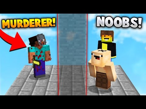 TWO NOOBS HIDE FROM A MURDERER Minecraft MURDER MYSTERY