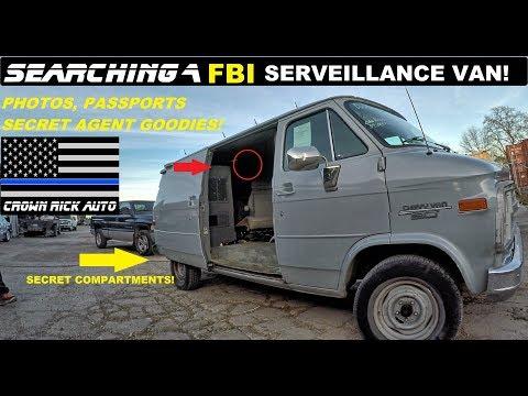 Searching a FBI Surveillance Van Found Secret Agent Police Goodies