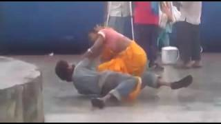 Indian Husband and Wife Fighting in Railwaystation